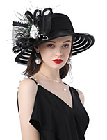 cheap -Headwear Feathers / Plain Sateen / Net Hats with Flower / Split Joint 1 Piece Wedding / Party / Evening Headpiece