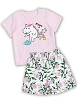 cheap -Kids Girls' Basic Cartoon Short Sleeve Clothing Set Blushing Pink