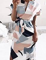 cheap -Women's Elegant Sheath Dress - Print Black White Blushing Pink XS S M L