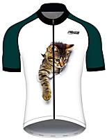 cheap -21Grams Men's Women's Short Sleeve Cycling Jersey 100% Polyester Blue / White Cat Animal Bike Jersey Top Mountain Bike MTB Road Bike Cycling UV Resistant Breathable Quick Dry Sports Clothing Apparel