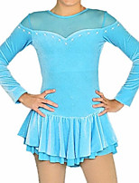 cheap -Figure Skating Dress Women's Girls' Ice Skating Dress Sky Blue Patchwork Spandex High Elasticity Training Competition Skating Wear Patchwork Crystal / Rhinestone Long Sleeve Ice Skating Figure Skating