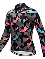 cheap -21Grams Men's Long Sleeve Cycling Jersey Winter 100% Polyester Black Geometic Bike Jersey Top Mountain Bike MTB Road Bike Cycling Thermal / Warm UV Resistant Breathable Sports Clothing Apparel