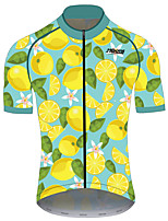 cheap -21Grams Men's Short Sleeve Cycling Jersey 100% Polyester Green / Yellow Fruit Lemon Bike Jersey Top Mountain Bike MTB Road Bike Cycling UV Resistant Breathable Quick Dry Sports Clothing Apparel