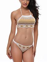 cheap -Women's Basic Khaki Triangle Thong Bikini Swimwear - Geometric Lace up S M L Khaki