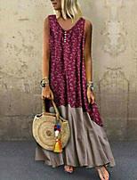 cheap -Women's Maxi Red Blue Dress Elegant Shift Color Block V Neck S M