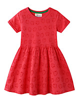 cheap -Toddler Girls' Color Block Short Sleeve Above Knee Dress Red