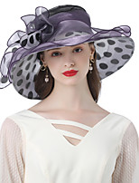 cheap -Headwear Organza / Poly / Cotton Blend Hats with Pearls / Floral / Cascading Ruffles 1 Piece Wedding / Party / Evening Headpiece