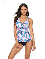 cheap -Women's Sporty Basic Blushing Pink Triangle Cheeky Tankini Swimwear Swimsuit - Floral Color Block Print S M L Blushing Pink