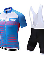 cheap -21Grams Men's Short Sleeve Cycling Jersey with Bib Shorts Polyester Bule / Black Stripes Geometic Bike Clothing Suit UV Resistant Breathable 3D Pad Quick Dry Sweat-wicking Sports Solid Color Mountain