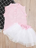 cheap -Baby Girls' Basic Striped Sleeveless Regular Clothing Set Blushing Pink