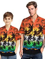 cheap -Daddy and Me Basic Tropical Leaf Floral Print Short Sleeve Regular Regular Shirt White
