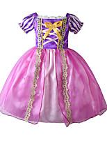cheap -Kids Girls' Cute Boho Cartoon Christmas Halloween Bow Mesh Lace up Short Sleeve Midi Dress Blushing Pink