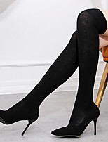 cheap -Women's Boots Stiletto Heel Pointed Toe Knit Over The Knee Boots Sweet / British Winter / Fall & Winter Black / Party & Evening