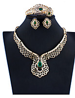 cheap -Women's Green Hoop Earrings Necklace Bracelet Hollow Out Flower Basic Ethnic Africa Earrings Jewelry Gold For Wedding Party Engagement Four-piece Suit / Bridal Jewelry Sets / Open Ring