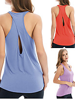 cheap -Women's Yoga Top Solid Color Black Purple Orange Dark Navy Cotton Yoga Running Fitness Vest / Gilet Sleeveless Sport Activewear Breathable Moisture Wicking Quick Dry Micro-elastic Loose