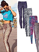 cheap -Women's High Waist Yoga Pants Leopard White Purple Yellow Red Running Fitness Gym Workout Tights Leggings Sport Activewear Breathable Moisture Wicking Butt Lift Tummy Control High Elasticity Skinny