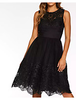 cheap -A-Line Jewel Neck Knee Length Chiffon / Lace Sexy / Black Cocktail Party / Party Wear Dress with Appliques / Draping 2020