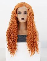 abordables -Perruque Lace Front Synthétique Ondulé Partie latérale Lace Frontale Perruque Long Orange Cheveux Synthétiques 18-26 pouce Femme Cosplay Doux Ajustable Blond