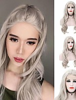 cheap -Synthetic Lace Front Wig Body Wave Middle Part Lace Front Wig Long Grey Synthetic Hair 18-26 inch Women's Heat Resistant Synthetic Easy dressing Gray / Natural Hairline