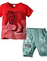 cheap -Kids Boys' Basic Christmas Home Print Cartoon Print Short Sleeve Regular Regular Clothing Set Red