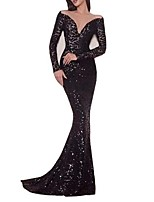 cheap -Mermaid / Trumpet V Neck Sweep / Brush Train Polyester Sparkle Formal Evening / Holiday Dress 2020 with Sequin