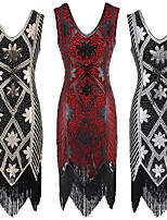 cheap -The Great Gatsby Retro Vintage 1920s Summer Flapper Dress Dress Women's Sequins Tassel Fringe Spandex Sequin Costume Black+Golden / Black+Sliver / Red Vintage Cosplay Event / Party Sleeveless Knee
