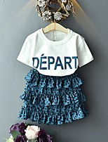 cheap -Kids Girls' Basic Leopard Short Sleeve Clothing Set Blue