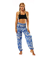 cheap -Women's Yoga Pants Winter Harem Floral Print Black Blue Dance Fitness Gym Workout Bottoms Sport Activewear Lightweight Breathable Quick Dry Soft Stretchy Loose