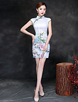 cheap -Adults' Women's Chinese Style Chinese Style Cheongsam Qipao For Party Cotton Polyster 3D Print Halloween Carnival Masquerade Cheongsam