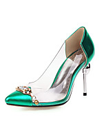 cheap -Women's Heels Stiletto Heel Pointed Toe Rhinestone Microfiber Classic Spring & Summer Black / Green / Red / Wedding / Party & Evening / Color Block
