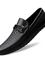 cheap -Men's Comfort Shoes Nappa Leather Fall & Winter Loafers & Slip-Ons Black / White