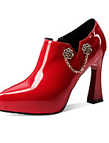 cheap -Women's Heels Chunky Heel Pointed Toe Patent Leather Classic Spring &  Fall Black / Red / Wedding / Party & Evening