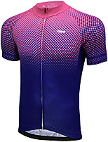 cheap -21Grams Men's Short Sleeve Cycling Jersey Winter 100% Polyester Violet Gradient Bike Jersey Top Mountain Bike MTB Road Bike Cycling UV Resistant Breathable Quick Dry Sports Clothing Apparel