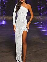 cheap -Sheath / Column One Shoulder Asymmetrical Polyester Sexy Formal Evening Dress 2020 with Split