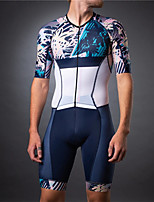 cheap -21Grams Men's Short Sleeve Triathlon Tri Suit Blue / White Floral Botanical Bike Clothing Suit UV Resistant Breathable Quick Dry Sweat-wicking Sports Floral Botanical Mountain Bike MTB Road Bike