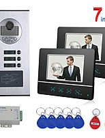 cheap -7 Inch Touch Button 2 Apartment/Family Video Door Phone Intercom System RFID 1000TVL  Doorbell Camera