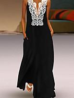 cheap -Women's Elegant Sheath Dress - Color Block Black S M L XL