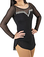 cheap -Figure Skating Dress Women's Girls' Ice Skating Dress Black Spandex High Elasticity Training Competition Skating Wear Patchwork Crystal / Rhinestone Long Sleeve Ice Skating Figure Skating