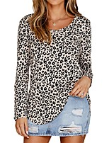 cheap -Women's Daily Basic Blouse - Leopard Khaki
