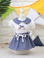 cheap -Dog Cat Costume Dress Dog Clothes Breathable Blue Costume Beagle Bichon Frise Chihuahua Fabric Color Block Plaid / Check Bowknot Cosplay Cute XS S M L XL