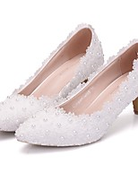 cheap -Women's Wedding Shoes Low Heel Pointed Toe Lace Spring & Summer White / Pink / Rainbow