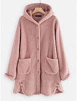cheap -Women's Daily / Sports Winter Long Coat, Solid Colored Hooded Long Sleeve Cotton Blushing Pink / Brown