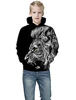cheap -Kids Boys' Active Punk & Gothic Color Block 3D Animal Long Sleeve Hoodie & Sweatshirt Black