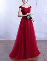 abordables -Trapèze Epaules Dénudées Longueur Sol Polyester Elégant Fête scolaire / robe ceremonie Robe 2020 avec Plissé