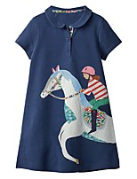 cheap -Kids Girls' Cartoon Dress Navy Blue
