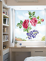 cheap -Window Film Flowers Frosted Opaque Privacy Stained Glass Sticker for Home Decor Window Stickers Chinese Rose
