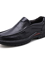 cheap -Men's Leather Shoes Nappa Leather Spring / Fall & Winter Casual / British Loafers & Slip-Ons Non-slipping Black