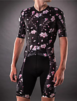 cheap -21Grams Men's Short Sleeve Triathlon Tri Suit Pink / Black Floral Botanical Bike Clothing Suit UV Resistant Breathable Quick Dry Sweat-wicking Sports Floral Botanical Mountain Bike MTB Road Bike