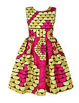 cheap -Kids Girls' Active Sweet Geometric Print Sleeveless Knee-length Dress Yellow