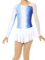 abordables -Robe de Patinage Artistique Femme Fille Patinage Robes Bleu Mosaïque Spandex Haute élasticité Entraînement Compétition Tenue de Patinage Mosaïque Cristal / Stras Manches Longues Patinage sur glace